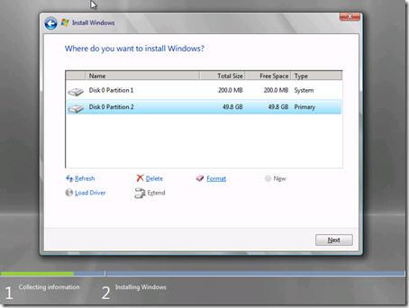 Выбрать или создать раздел диска